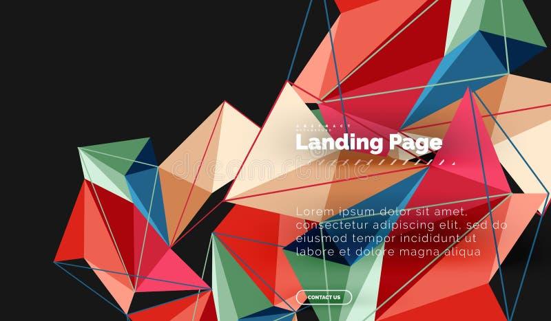 Vector 3d driehoeks abstracte achtergrond, veelhoekig geometrisch ontwerp stock illustratie