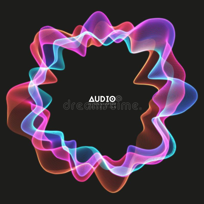 Vector 3d echo audio circular wavefrom spectrum. Abstract music waves oscillation graph. Futuristic sound wave royalty free illustration
