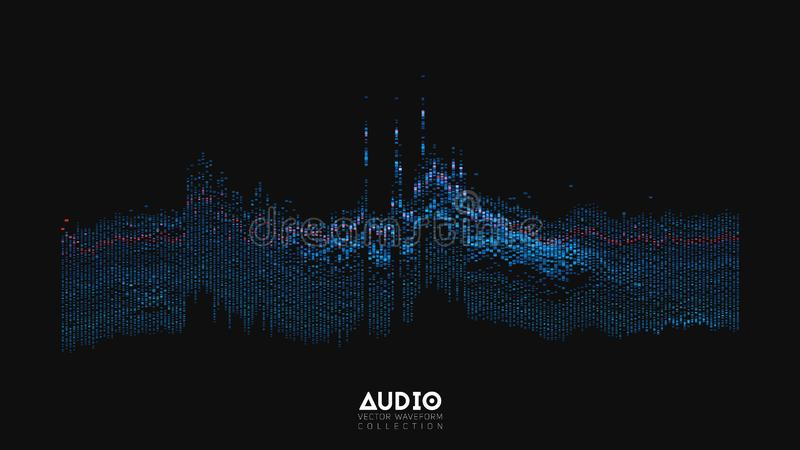 Vector 3d echo audio wavefrom spectrum. Abstract music waves oscillation graph. Futuristic sound wave visualization stock illustration
