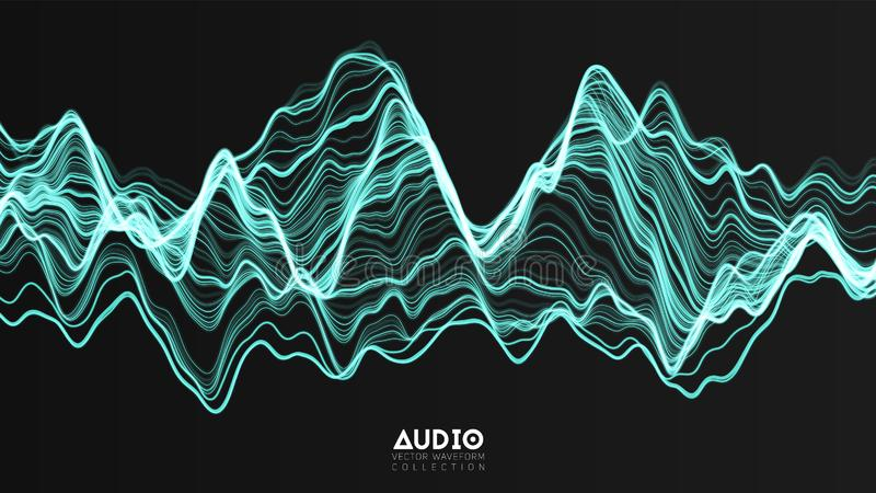 Vector 3d echo audio wavefrom spectrum. Abstract music waves oscillation graph. Futuristic sound wave visualization royalty free illustration