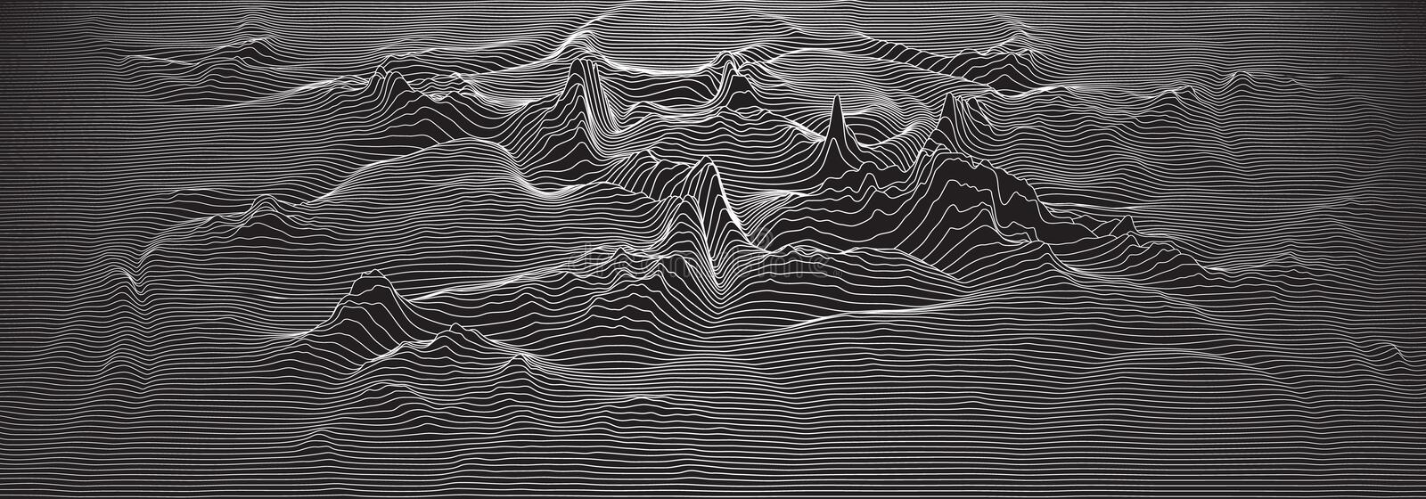 Vector 3d echo audio wavefrom spectrum. Music waves oscillation graph futuristic visualization. Black and white line vector illustration