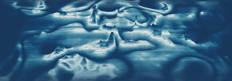 Vector 3d echo audio wavefrom spectrum. Music waves oscillation graph futuristic visualization. Bluish faded impulse vector illustration