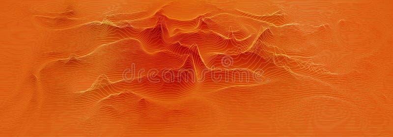 Vector 3d echo audio wavefrom spectrum. Music waves oscillation graph futuristic visualization. Orange line impulse stock illustration