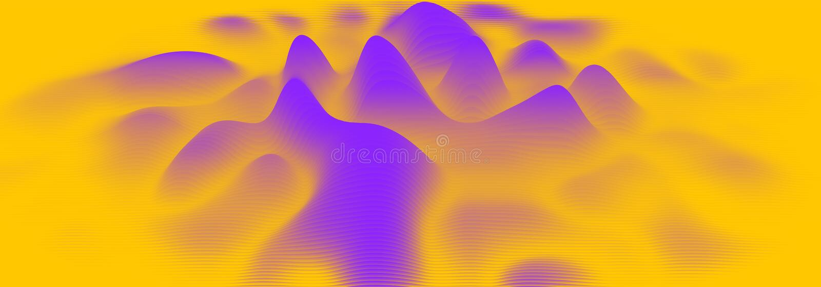 Vector 3d echo audio wavefrom spectrum. Music waves oscillation graph futuristic visualization. Orange line impulse royalty free illustration