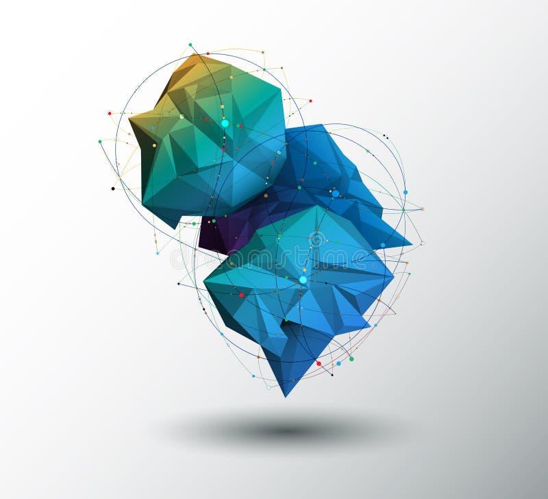 Vector 3D el ejemplo geométrico, polígono con la estructura de la molécula Ciencia abstracta, futurista, concepto de la conexión  libre illustration