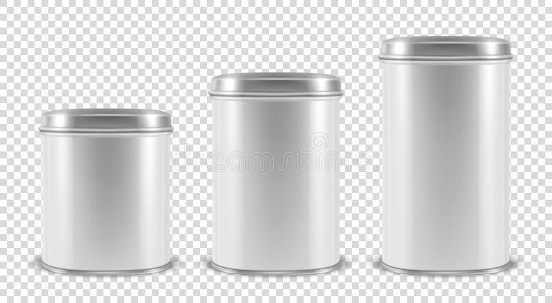 Vector 3d el metal en blanco blanco realista Tin Can Container Set Closeup aislado en fondo transparente Modelo del diseño stock de ilustración