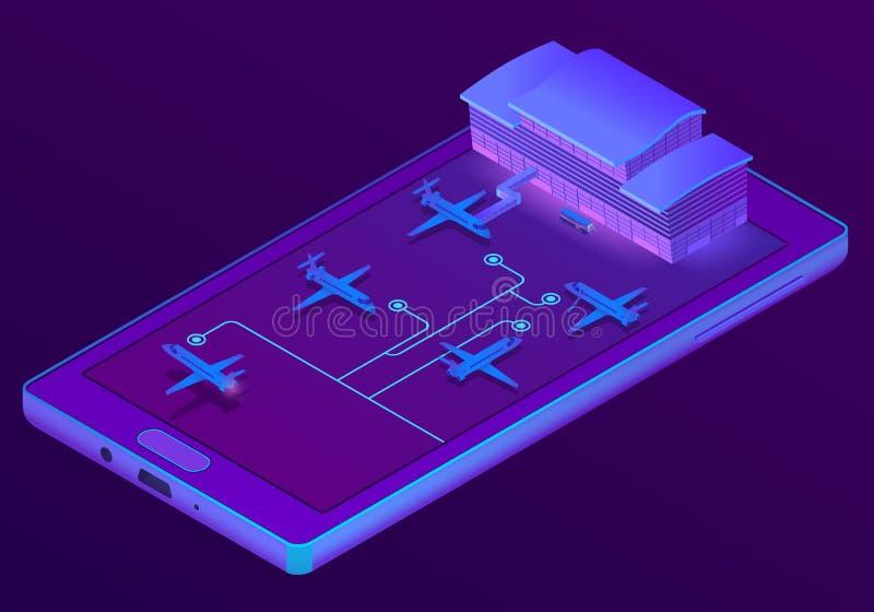 Vector 3d el smartphone isométrico - reservación de boletos libre illustration