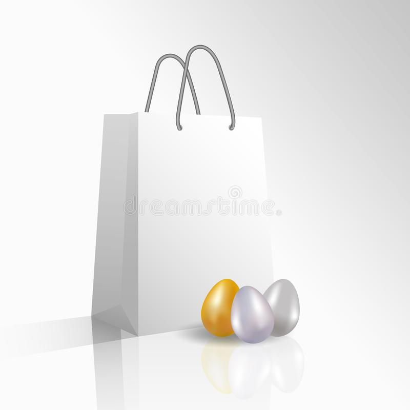 Vector 3D empty realistic white paper package or bag for shopping or gifts with your logo or text and Easter dyed golden and silve stock illustration
