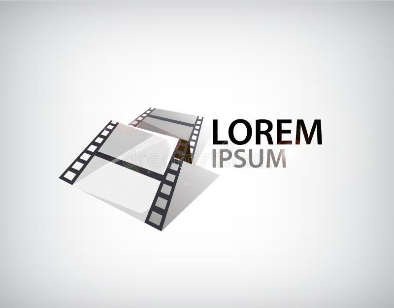Vector 3d film strip, tape logo stock illustration