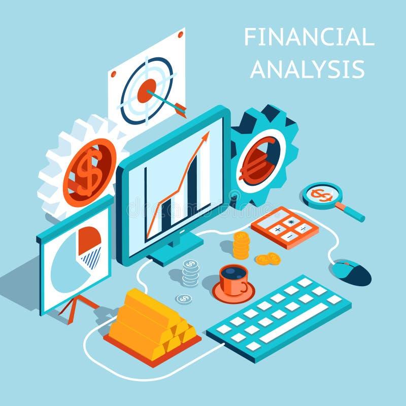Finance Graphics: Vector 3D Financial Analysis Concept Design Stock Vector