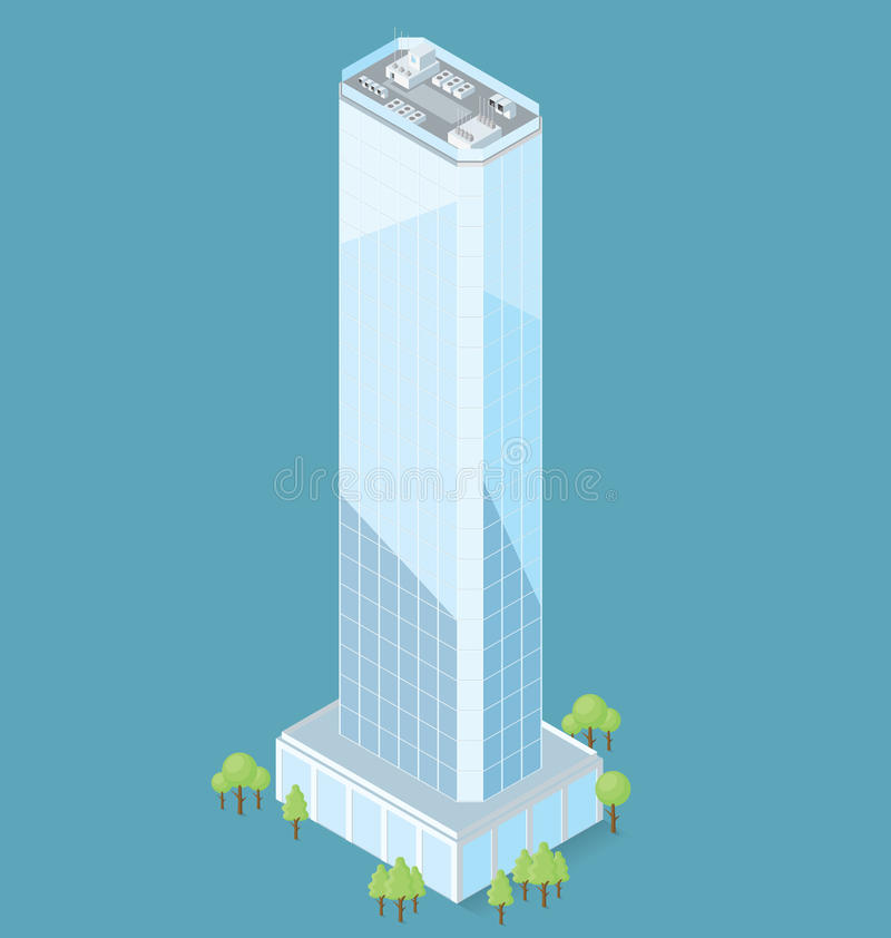 Vector 3d Flat Isometric Office Building vector illustration