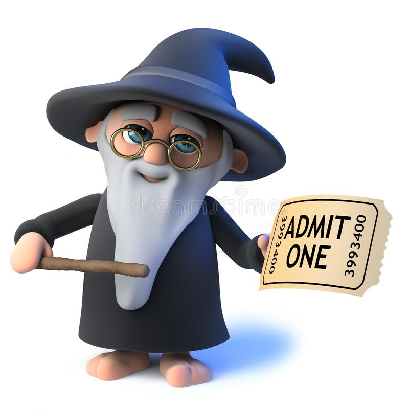 Vector 3d Funny cartoon wizard magician waves his wand at a ticket royalty free illustration