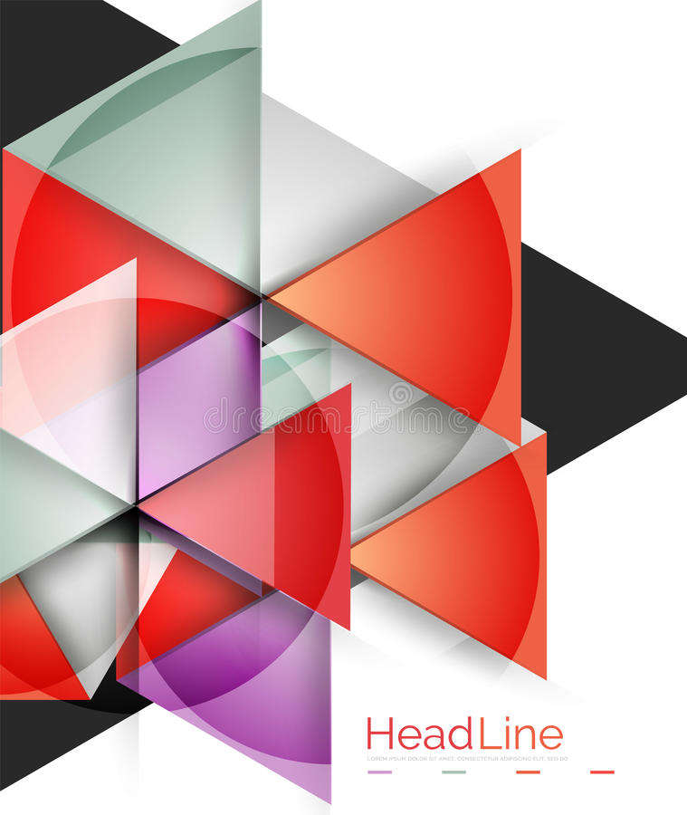 Vector 3d geometric abstract background. Triangle template royalty free illustration