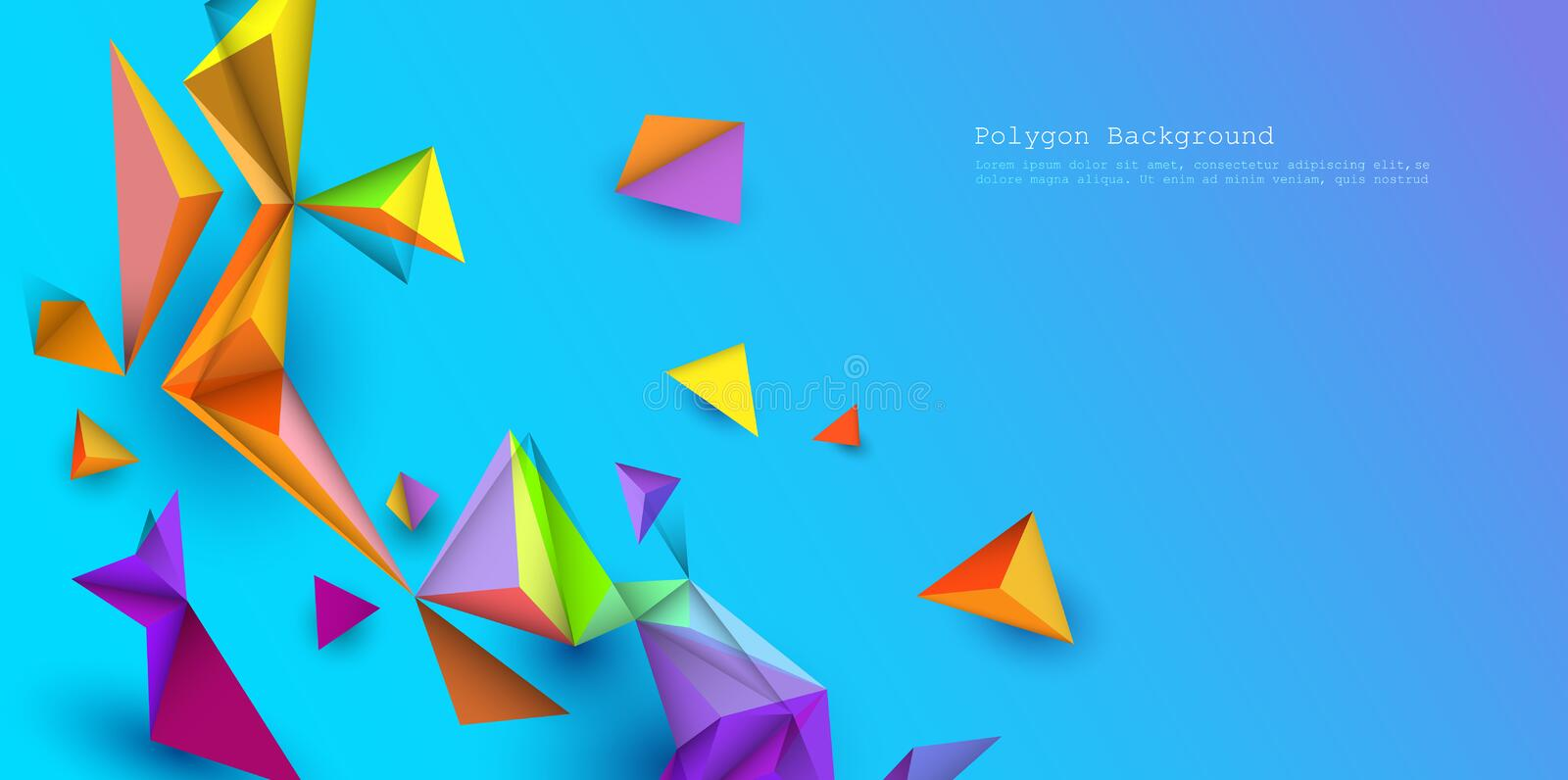 Illustration low poly, polygonal design with blue color  background. vector illustration