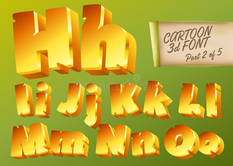 Vector 3D Gold Font in Cartoon Style. Comic Isometric Type. Vector 3D Gold Font in Cartoon Style. Comic Yellow Isometric Typeset for Children's stock illustration