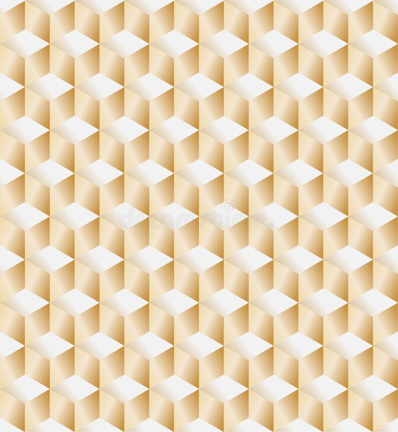 Vector 3D Gold Geometric Square Background seamless vector illustration