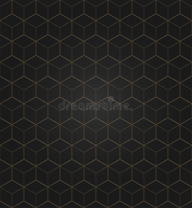 Vector 3D Gold Geometric Square Black Background seamless pattern vector illustration