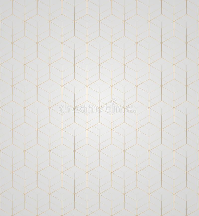 Vector 3D Gold Geometric Square Gray Background seamless pattern stock illustration