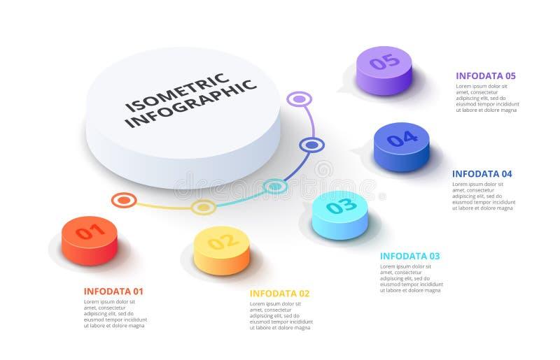 Vector 3d gradiëntcilinders Bedrijfsmalplaatje voor presentatie Creatief concept voor isometrische infographic met 5 stock illustratie