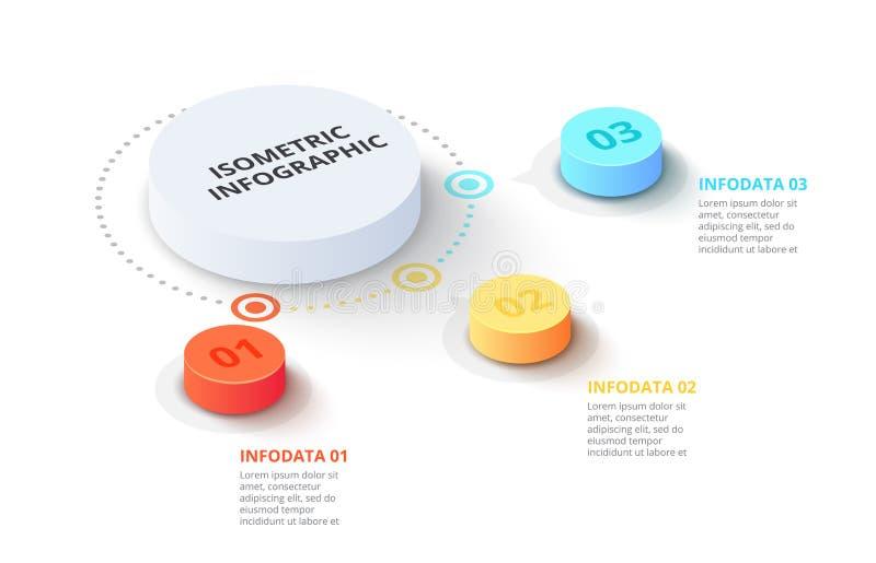 Vector 3d gradi?ntcilinders Bedrijfsmalplaatje voor presentatie Creatief concept voor isometrische infographic met 3 stock illustratie
