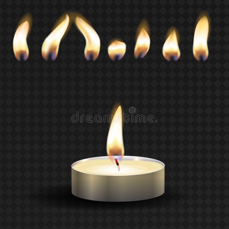 Vector 3d het branden realistisch kaarslicht of thee lichte en verschillende vlam van een vastgestelde geïsoleerde close-up van h vector illustratie
