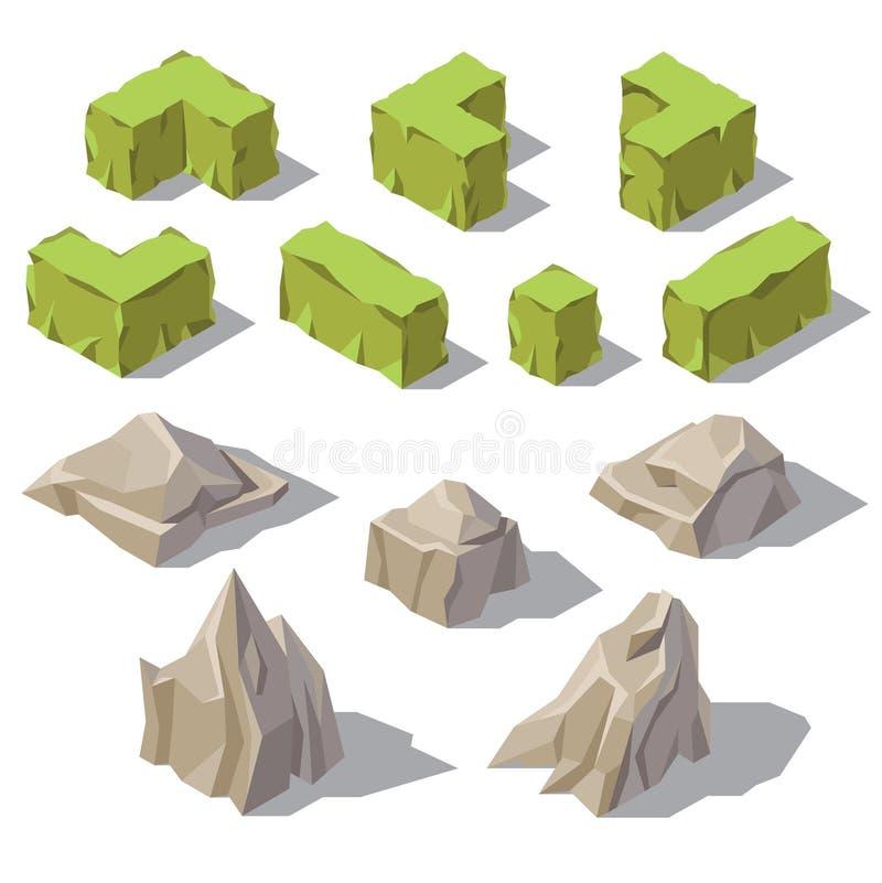 Vector 3d i cespugli verdi isometrici, le pietre, rocce royalty illustrazione gratis