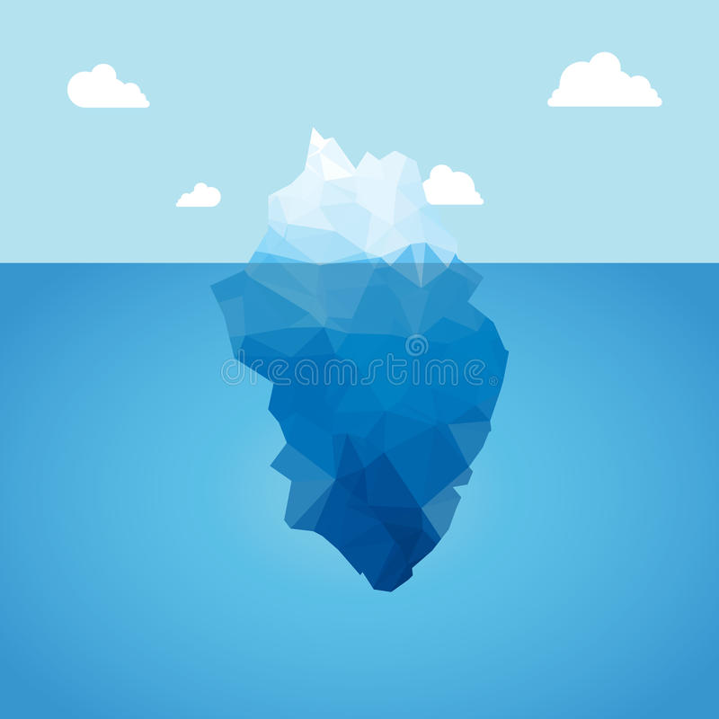 Vector 3d iceberg illustration concept. Success, clean blue cold sea or ocean concept. royalty free illustration