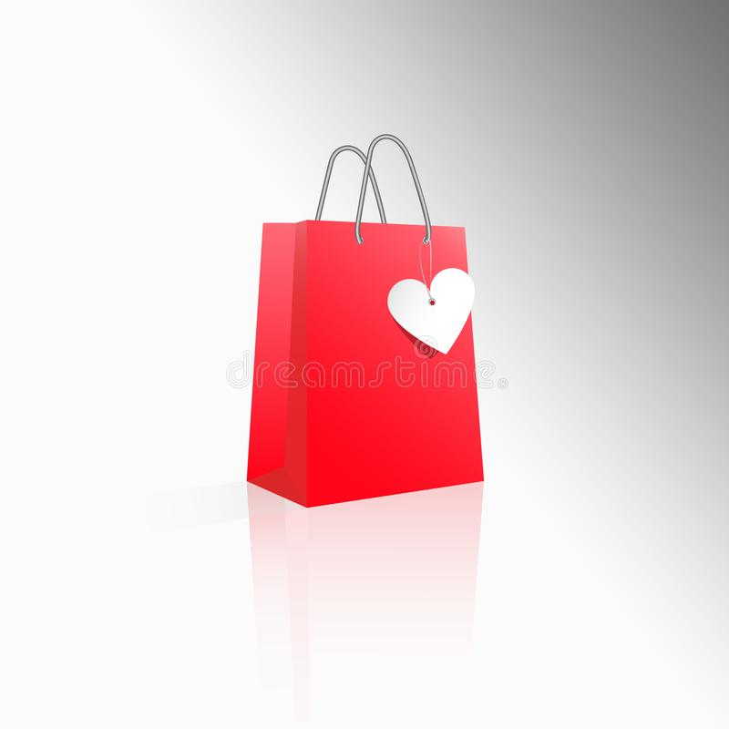 Vector 3D icon realistic red paper package or bag for shopping or gifts with white heart label. Sale for Valentine`s Day or any o stock illustration