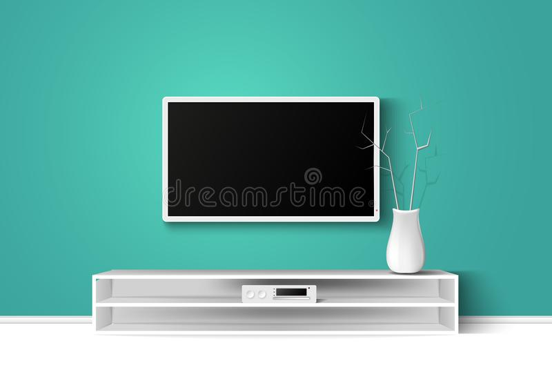 Vector 3d illustration of LED TV stand on a wooden table. House living room modern interior design. Copy space template. vector illustration