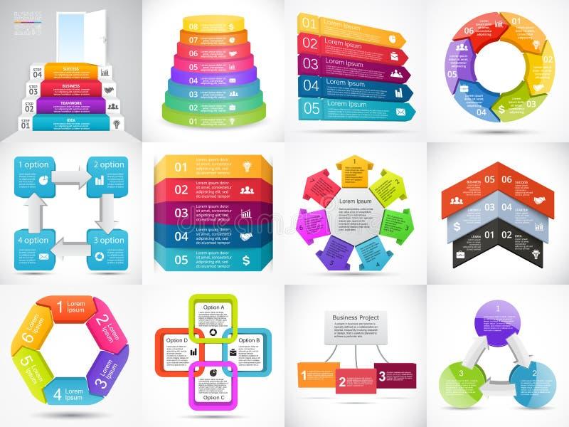 Vector 3D infographic pijlen, diagram, grafiek, presentatie, grafiek Bedrijfsconcept met 3, 4, 5, 6, 7, 8 opties, delen royalty-vrije illustratie