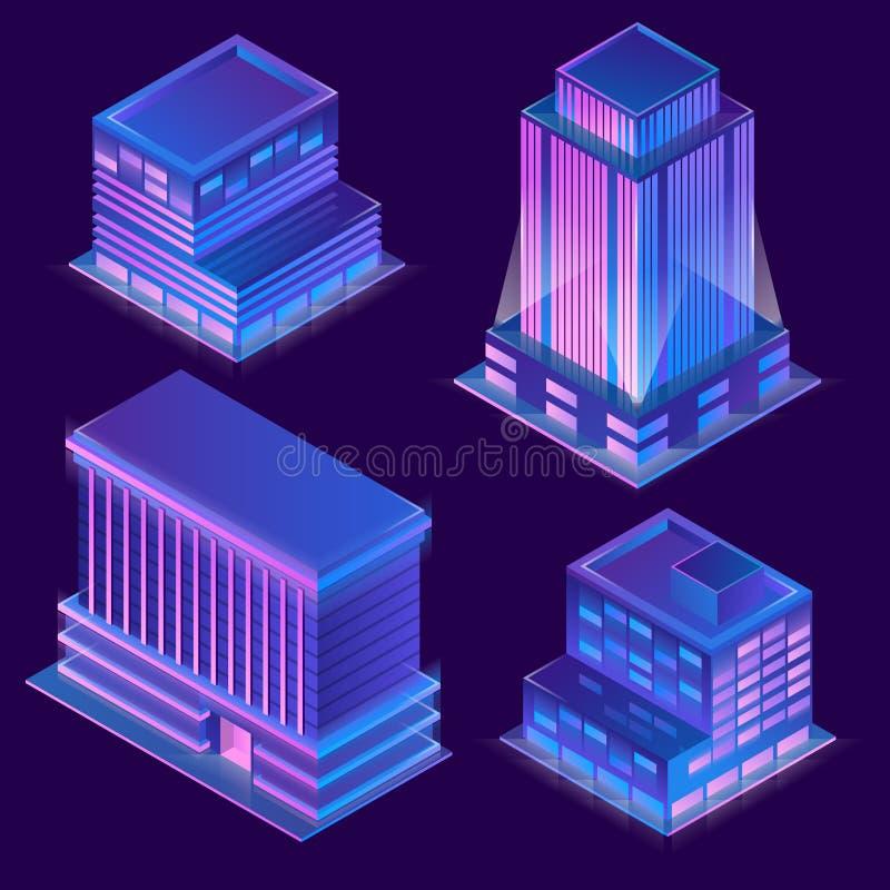 Vector 3d isometric buildings with neon illumination vector illustration
