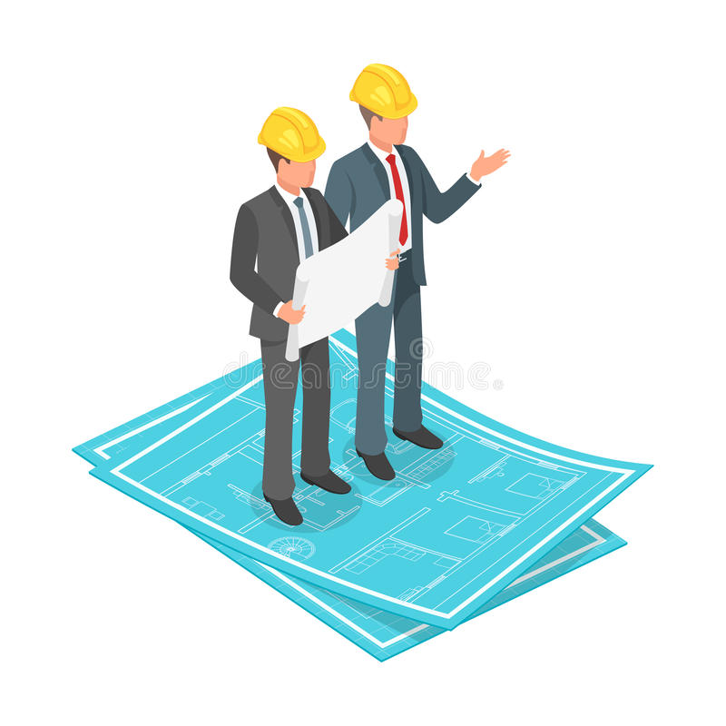 Vector 3d isometric concept of businessman or engineer in hard hat with architectural plan vector illustration