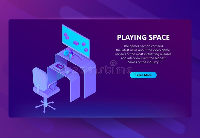 Vector 3d isometric gaming site, entertainment news. Vector isometric template site construction for gaming industry, entertainment news, playing space. Portal stock illustration