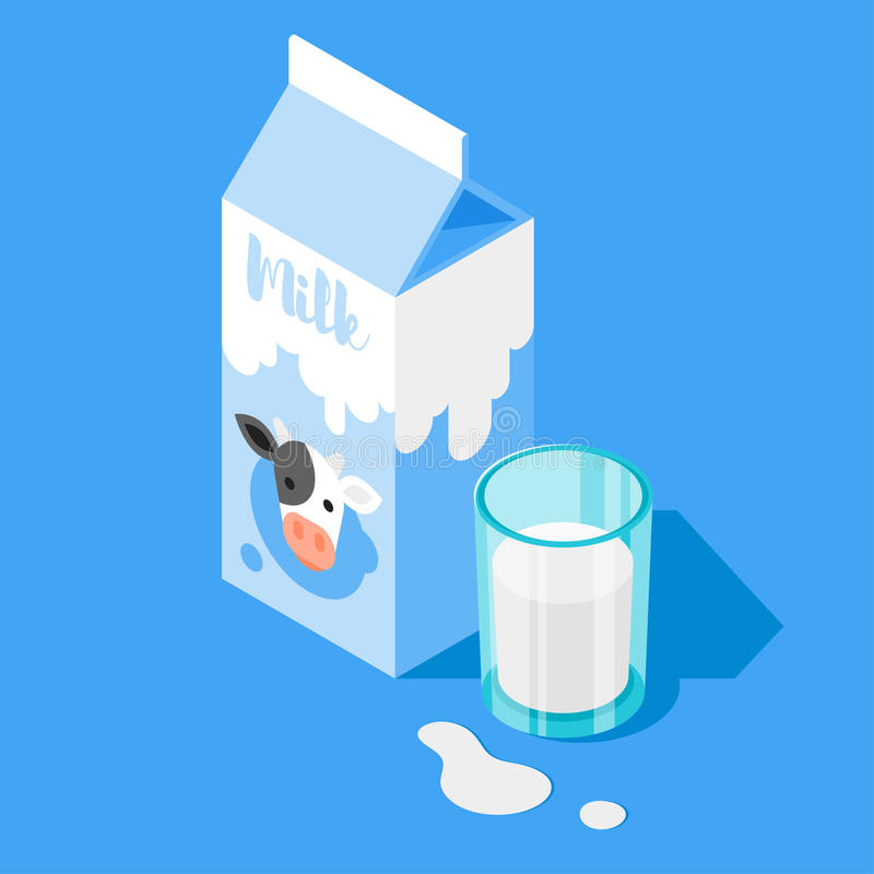 Vector 3d isometric illustration of milk packing and a glass of milk on blue background. stock illustration