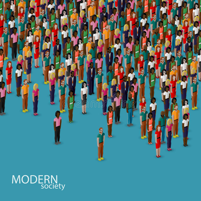 Vector 3d isometric illustration of society with a crowd of men and women. population. urban lifestyle concept. Vector 3d isometric illustration of society