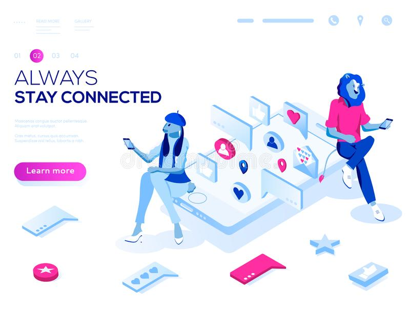Vector 3d isometric landing page concept. Virtual relationships, online dating and social networking illustration royalty free illustration