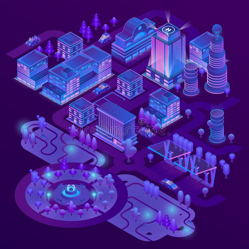 Vector 3d isometric megapolis in ultraviolet colors. Vector 3d isometric megapolis, city with park in purple colors. Collection of skyscrapers, buildings and royalty free illustration