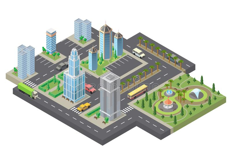 Vector 3d isometric megapolis, city. Urban landscape vector illustration