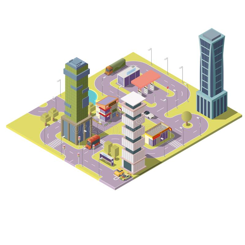 Vector 3d isometric megapolis, city. Urban landscape. Vector 3d isometric megapolis, city with skyscrapers, parking places and gas station. Collection of houses stock illustration