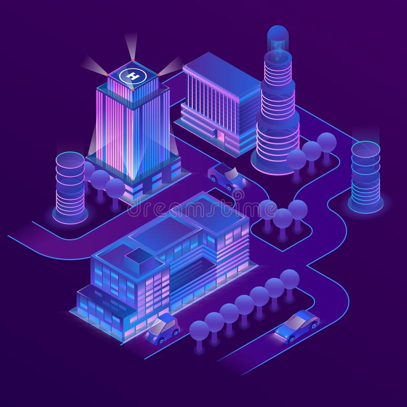 Vector 3d isometric megapolis in ultraviolet colors. Vector 3d isometric megapolis, city in violet colors. Collection of houses, skyscrapers, buildings with royalty free illustration
