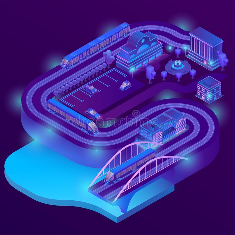 Vector 3d isometric railway station, roads infrastructure. Vector 3d isometric train station of megapolis. City parking in violet colors for cars. Railway vector illustration