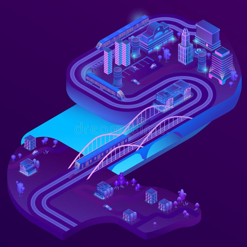 Vector 3d isometric railway station, roads infrastructure. Vector 3d isometric train station of megapolis, railways to suburb, village. City parking in violet royalty free illustration