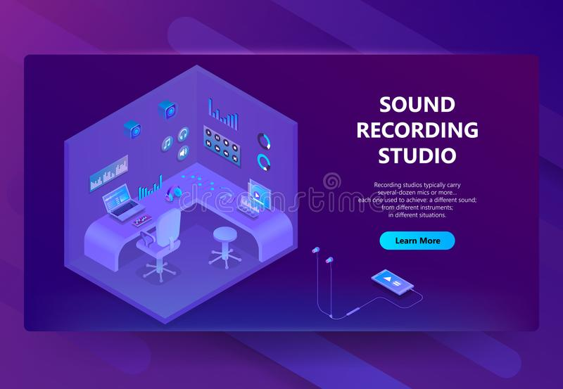 Vector 3d isometric site for sound recording studio royalty free illustration