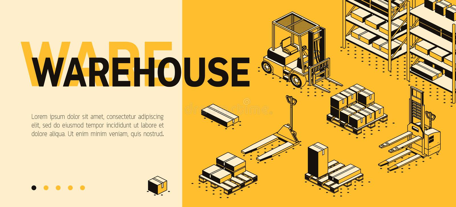 Vector 3d isometric site template - warehouse, storage. Vector 3d isometric site template with warehouse, forklift and boxes. Landing page in thin line style royalty free illustration
