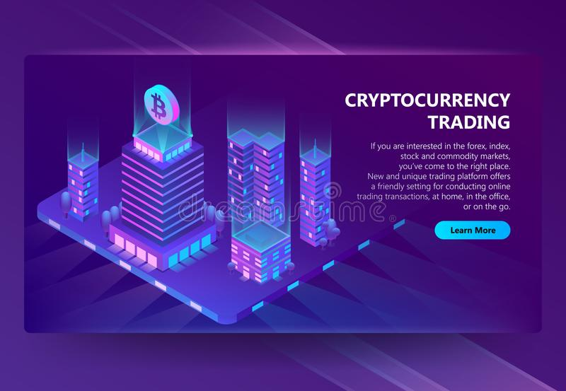 Vector 3d isometric site for trading cryptocurrency. Vector 3d isometric template, site construction for cryptocurrency, mining and trading bitcoin. Portal royalty free illustration