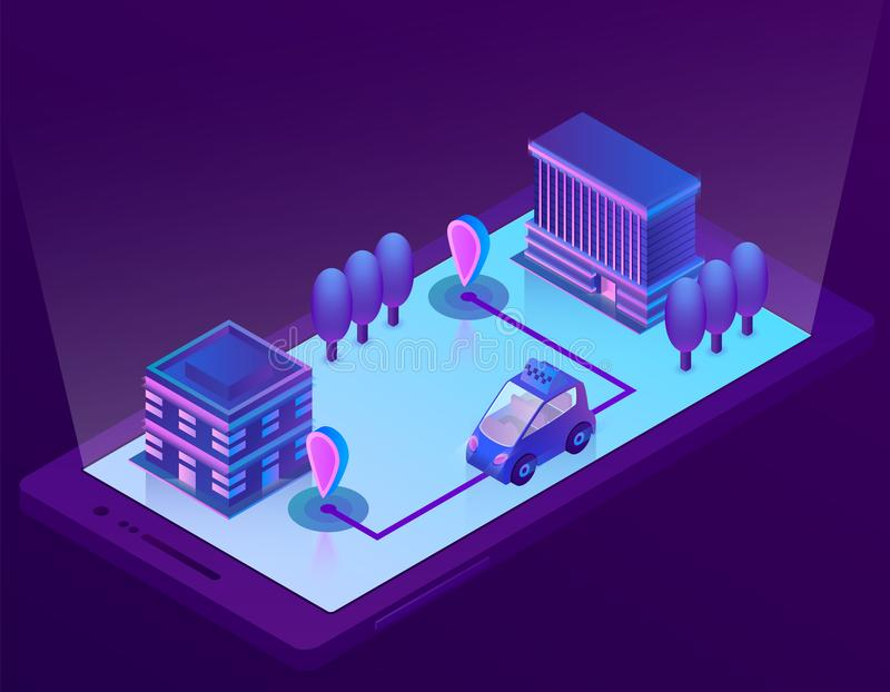 Vector isometric smart car technology for smartphone. Vector 3d isometric smart car technology for smartphone, app for device. Wireless navigation for driving vector illustration