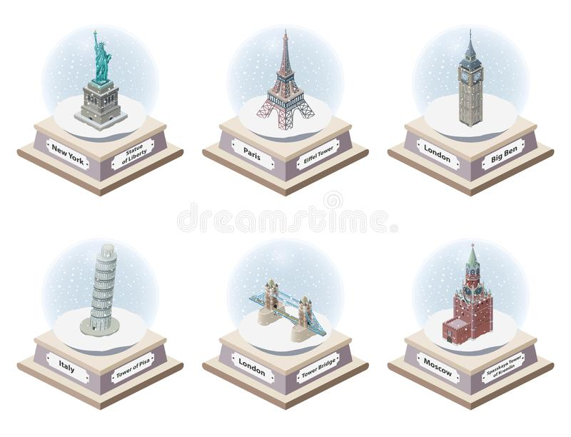 Vector 3d isometric snow globes with world famous landmarks inside. Collection of christmas illustrations isolated on white backgr. Vector 3d isometric snow stock illustration
