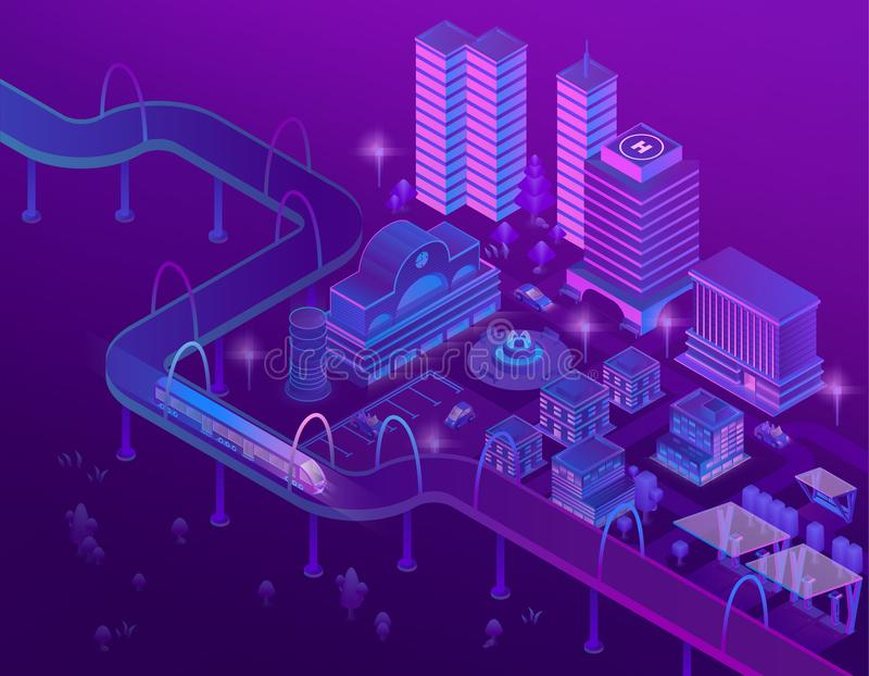 Vector 3d isometric train on bridge, megapolis. Vector 3d isometric train on road in megapolis with skyscrapers. City parking for cars in violet colors vector illustration