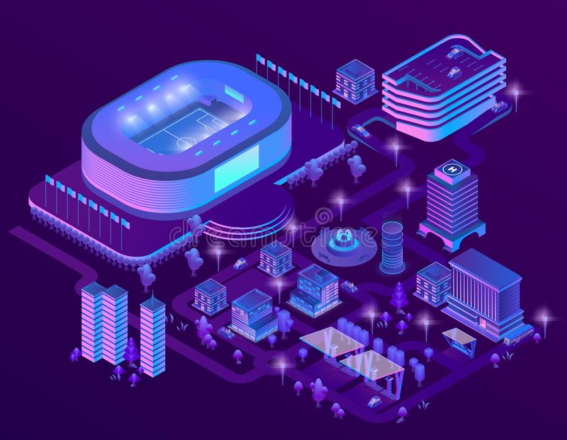 Vector 3d isometric ultraviolet megapolis with stadium. Vector 3d isometric megapolis with stadium. Sport arena in city in violet colors. Collection of royalty free illustration