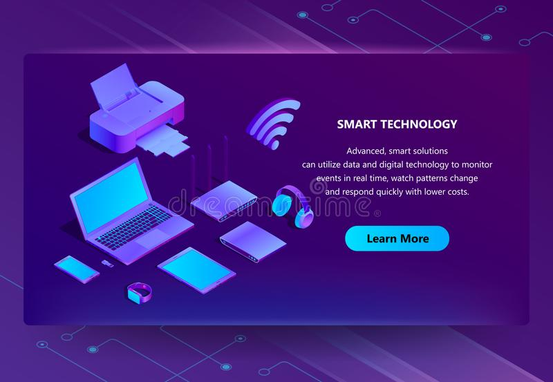 Vector 3d isometric ultraviolet web page template. Vector 3d isometric template for site construction. Portal background with button, violet laptop, router with stock illustration